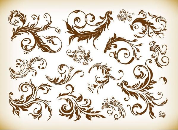 vintage design element vector graphics set
