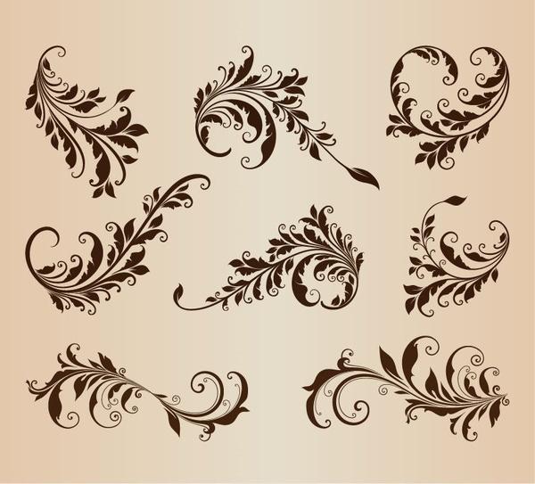 vintage design elements vector set for retro design