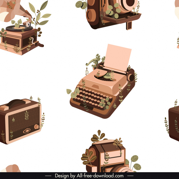 vintage devices pattern 3d sketch