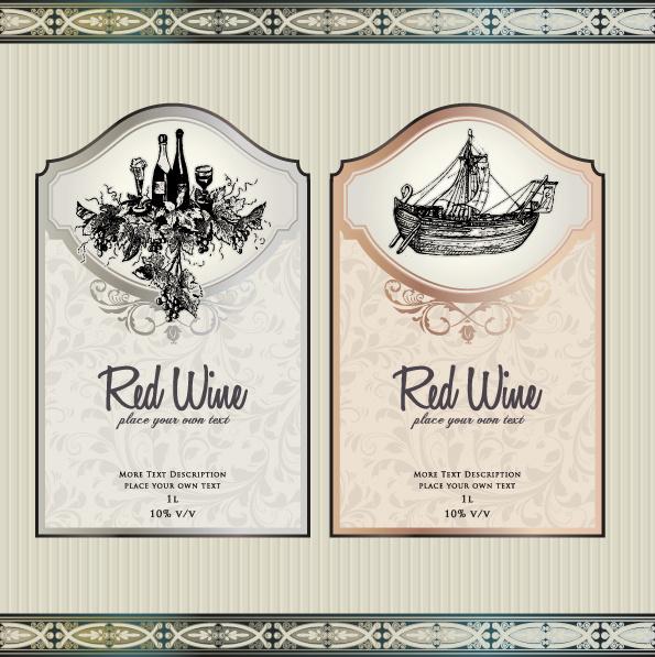 Vintage elements of wine labels vector Free vector in ...