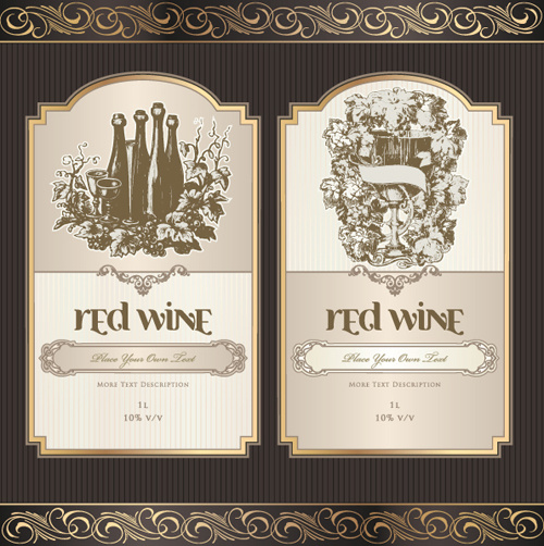 vintage elements of wine labels vector