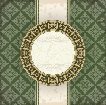 vintage floral background with round frame vector