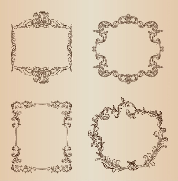 Vintage Floral Decorative Frame Vector Set