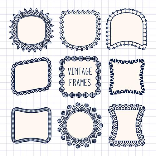 vintage floral frames vectors