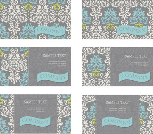 vintage floral pattern business cards vector