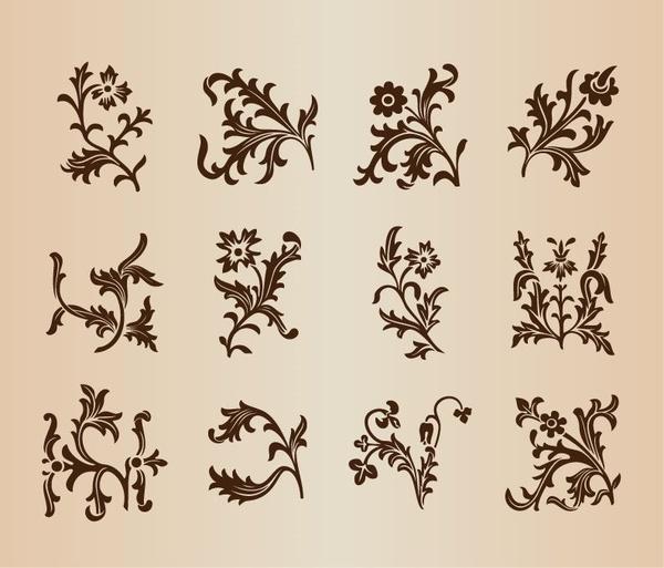 vintage floral patterns set for design