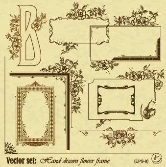 vintage flower frame and border vector