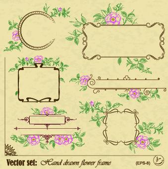 vintage flower frame and border vector