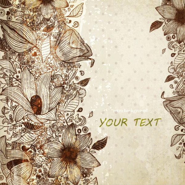 vintage flower of background vector