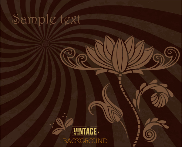 vintage flower spiral ray background
