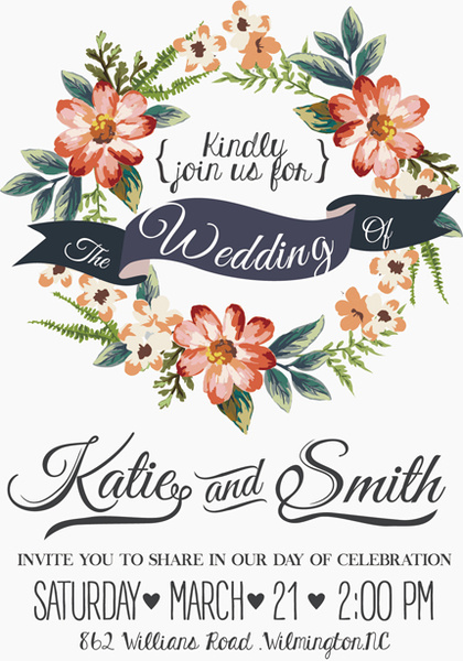 vintage flower wedding invitation background free vector in