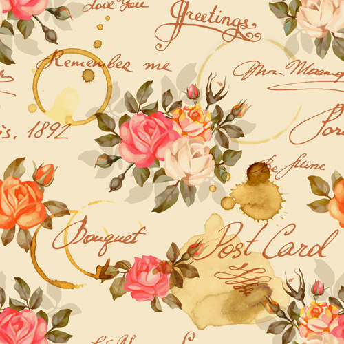Vintage Flowers Patterns Vector Seamless Design Free