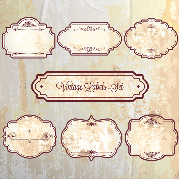 Vintage frame labels sets on faded background Free vector in Adobe ...