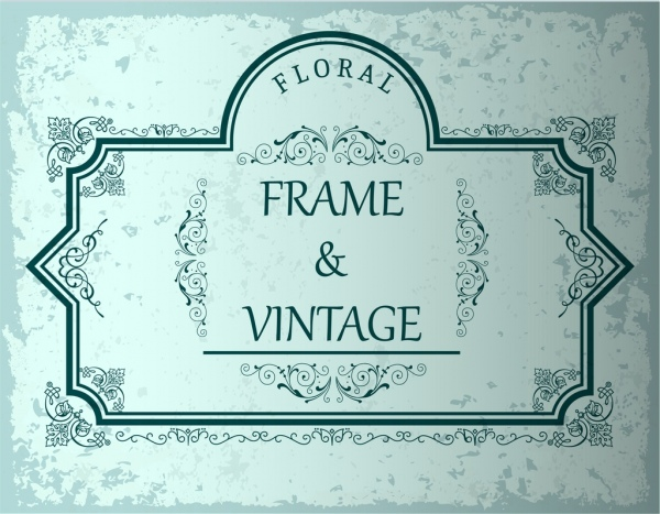 vintage frame template green lines decoration