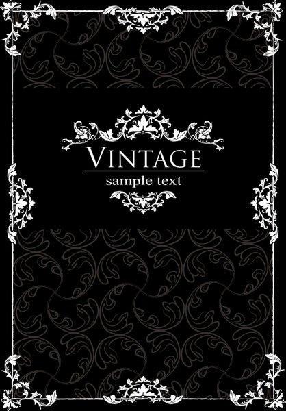 cover template dark vintage symmetrical frame decor