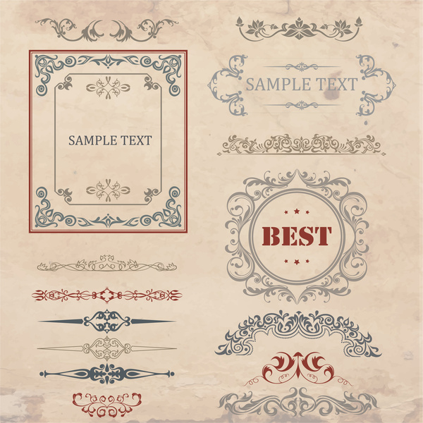 vintage frames and borders pattern collection
