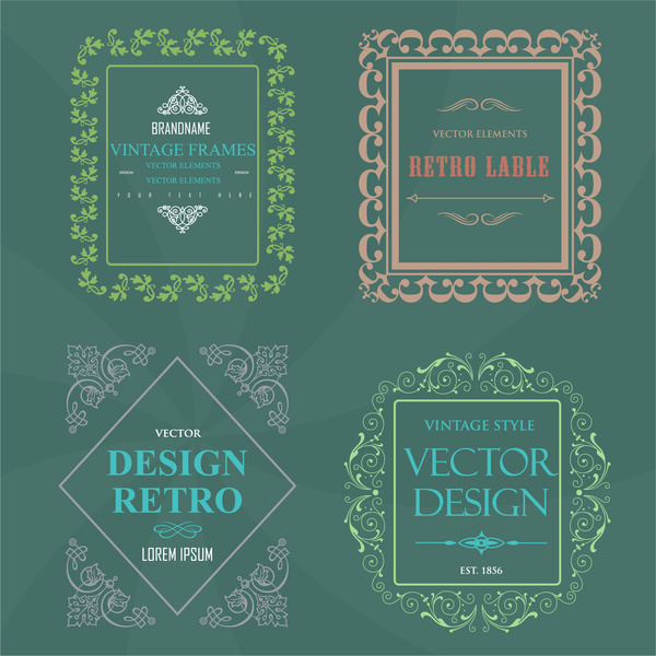 vintage frames and labels vector collection
