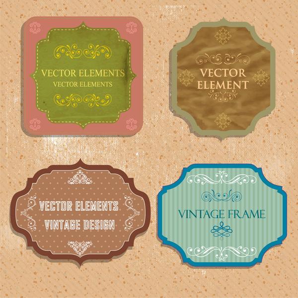 vintage frames design sets vector illustration