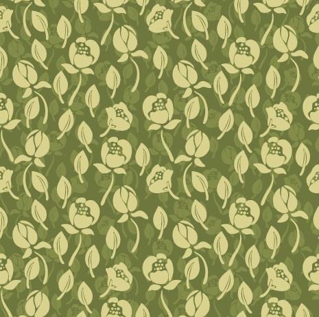 vintage green flower seamless pattern