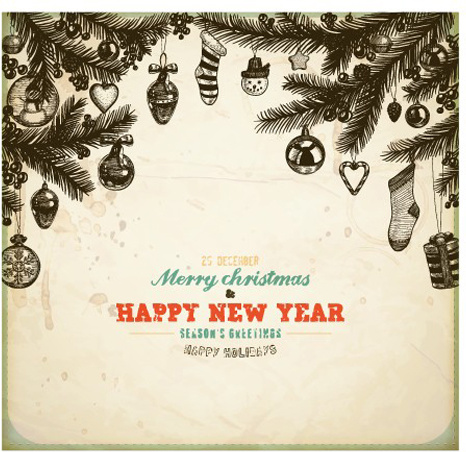 vintage hand drawn new year and christmas ornaments vector set