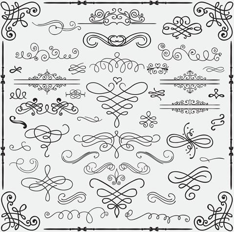 vintage hand drawn swirls ornaments with corner vector