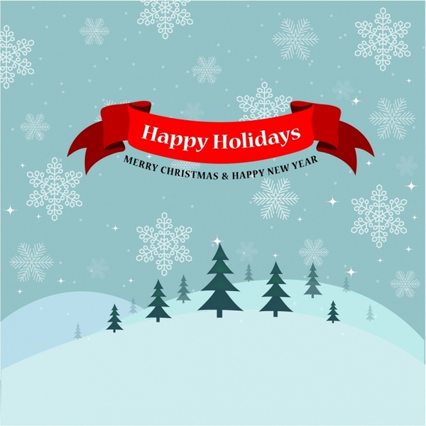 Vintage Happy Holidays Card Free vector in Adobe Illustrator ai