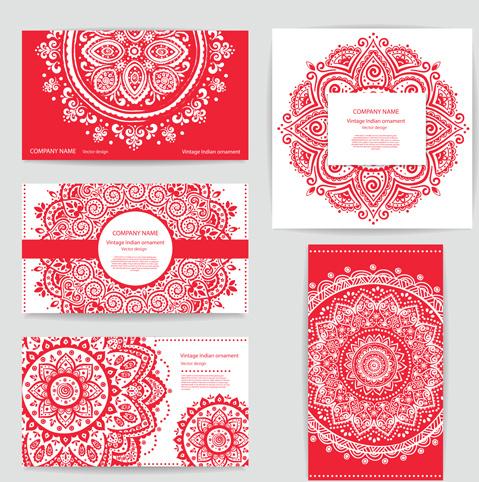 vintage indian ornament pattern cards vector