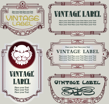 vintage label and border elements vector