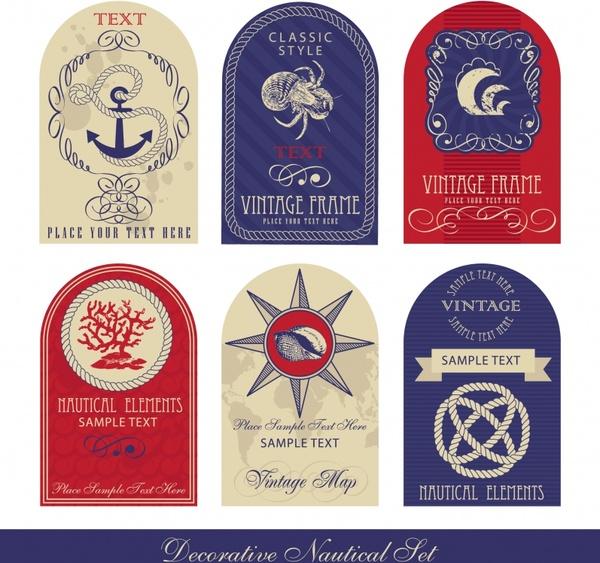 marine labels templates flat vintage shapes emblem ornament