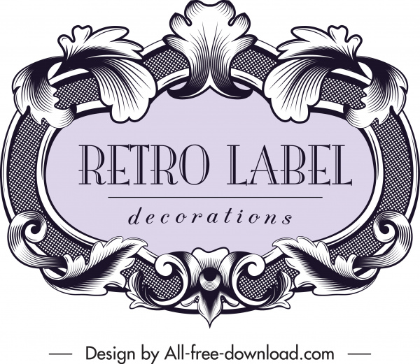 vintage label template elegant symmetrical baroque decor