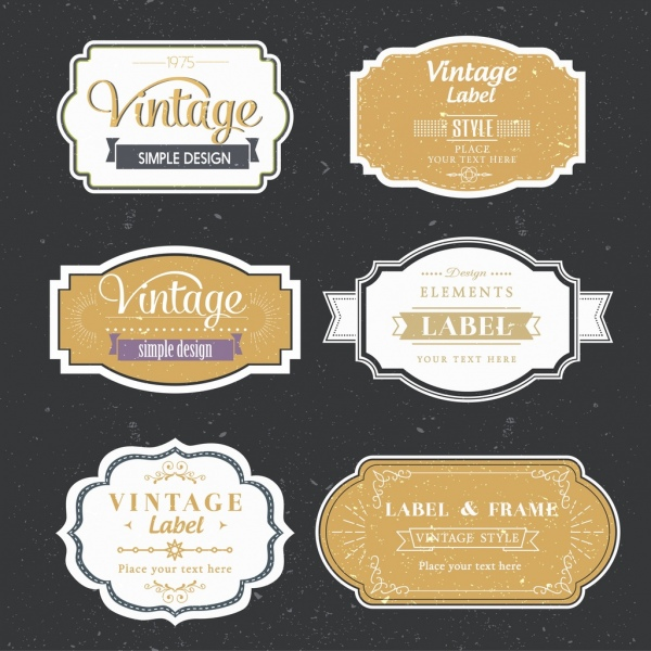 vintage labels collection flat shapes isolation