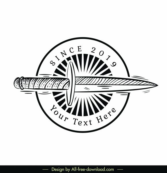 vintage logotype retro black white sword sketch