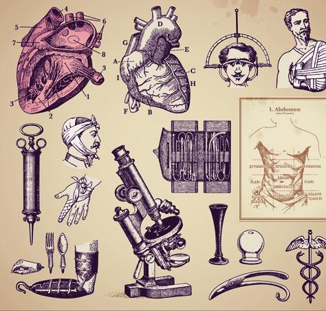 vintage medicine elements vector