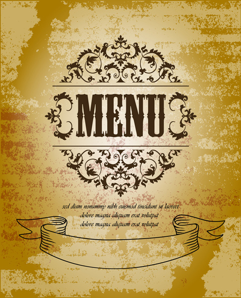vintage menu with grunge background vector