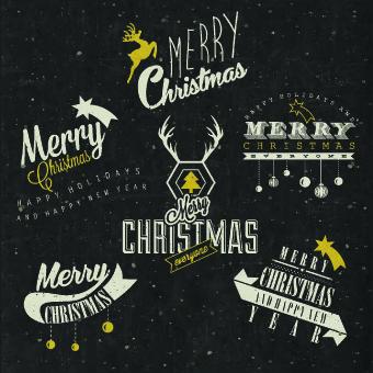 vintage merry christmas logos design vector - Christmas Logos