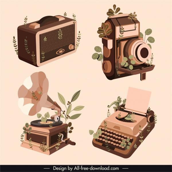 vintage objects background suitcase camera typewriter speaker sketch