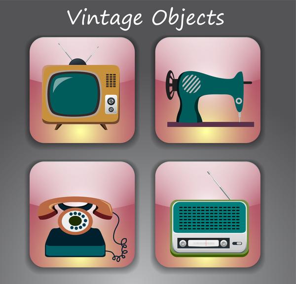 vintage objects vector illustration on pink squares