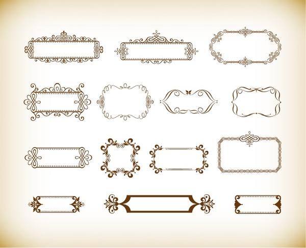 vintage ornament floral frame vector set