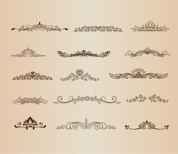 vintage ornaments element vector graphic set
