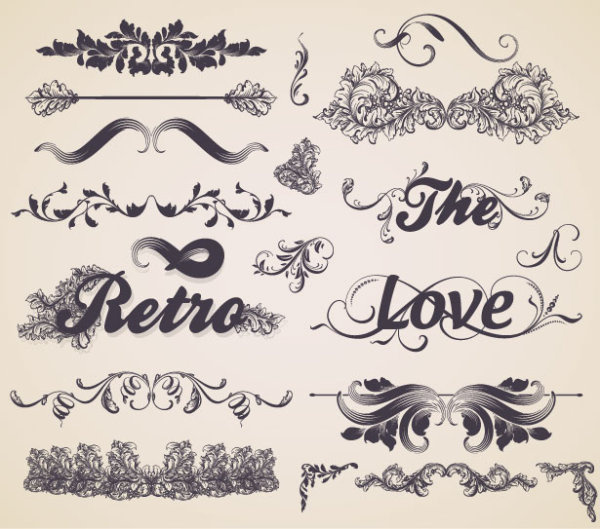 vintage ornaments frames with borders design vector