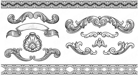 4ae63bc25ba1 Vintage ornaments with frames vector Free vector in Encapsulated ...