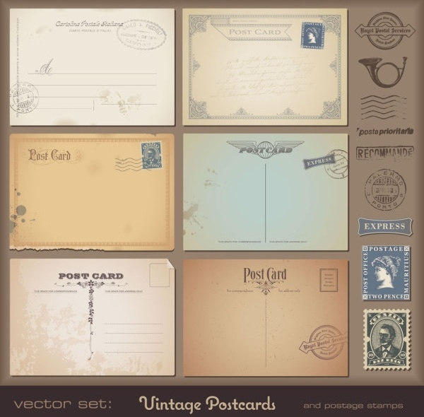 vintage postcards and stamps 06 vector