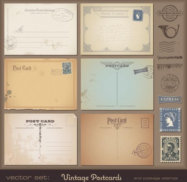 postcard design elements retro envelopes stamps sketch