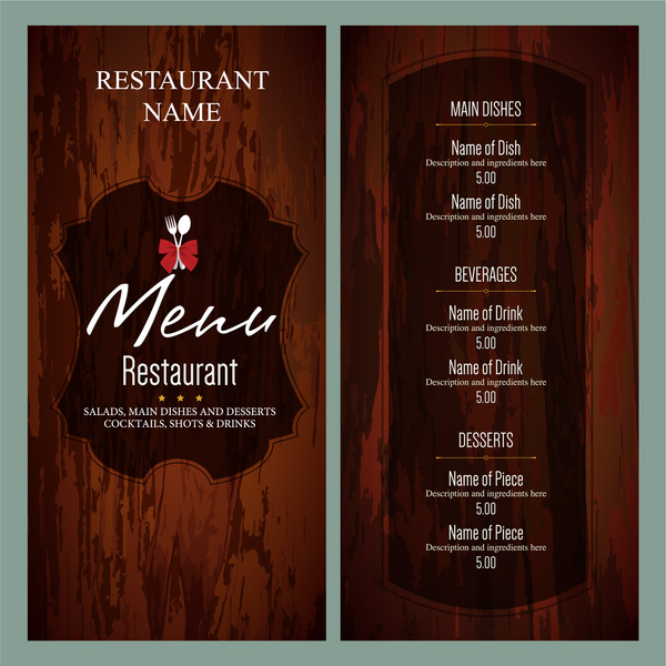 vintage restaurant menu templates free vector in adobe illustrator