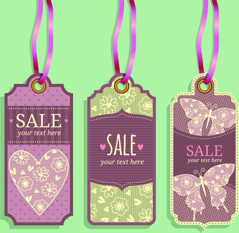 vintage sale tags creative design set