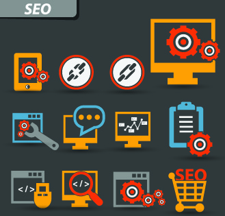 vintage seo icons vector