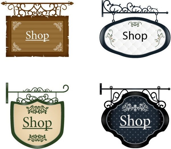 vintage signboard vector set 2 free vector in encapsulated