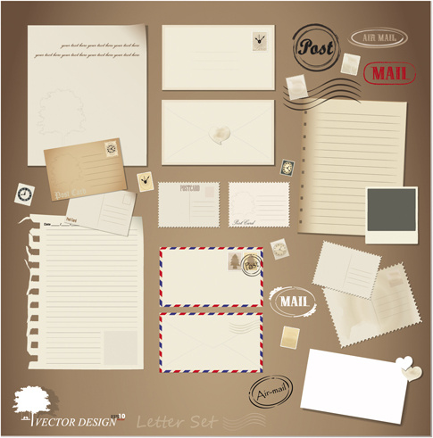 vintage stationery stamp and envelope free vector 3