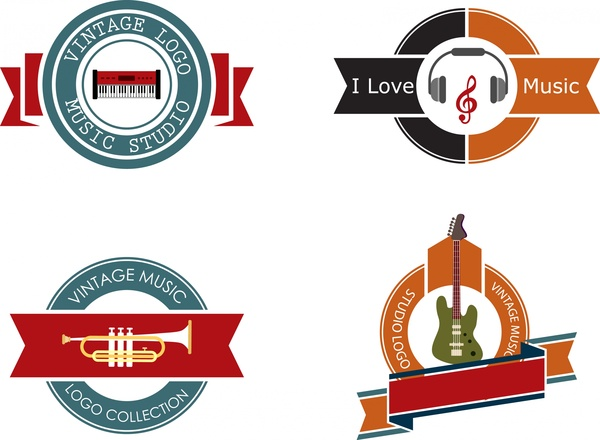 vintage studio logo collection colorful round ribbon design