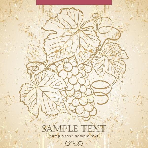 grape wine background handdrawn vintage sketch